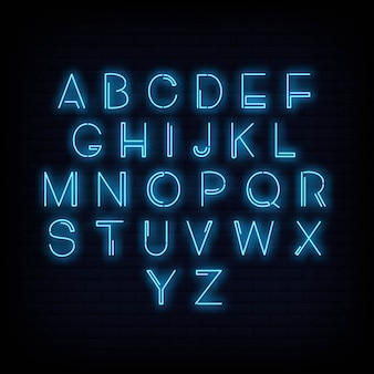 Alphabet neon sign vector