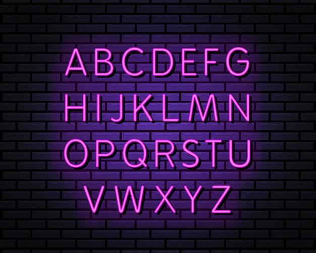 Alphabet neon style