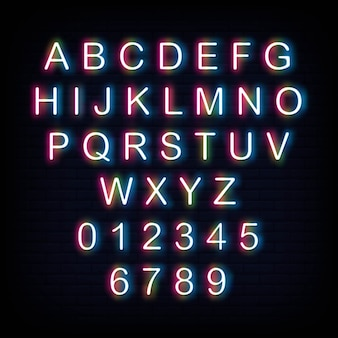Alphabet and number neon sign