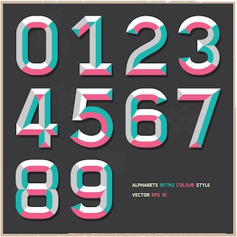 Alphabet numbers vintage color style