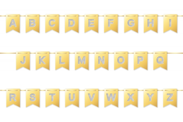 黄金の紙旗ガーランドのアルファベット