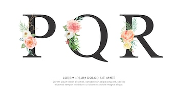 Alphabet P Q R flower and leaves watercolor.
