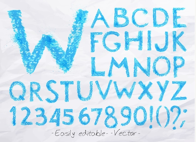 アルファベットパステルブルー