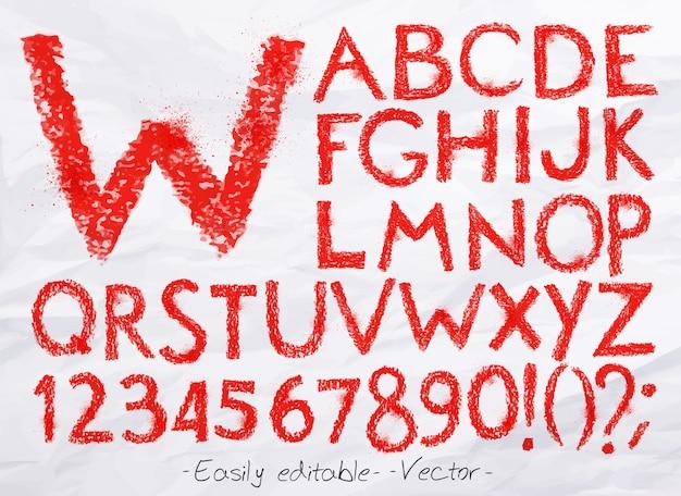 アルファベットパステル赤