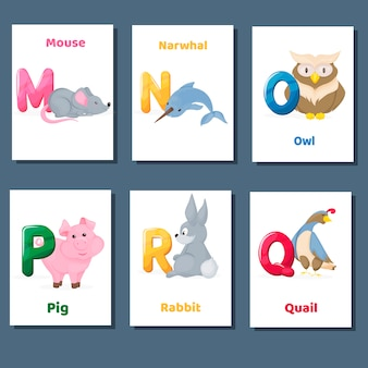 Alphabet printable flashcards vector collection with letter m n o p q r. zoo animals for english language education.