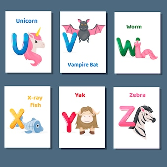 Alphabet printable flashcards vector collection with letter u v w x y z. zoo animals for english language education.