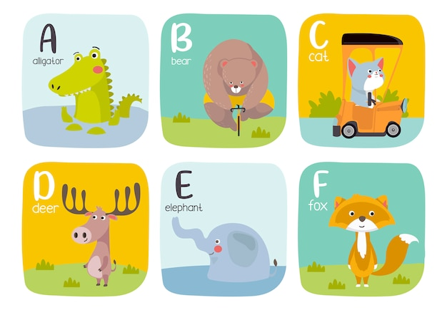 Alphabet printable flashcards vector collection with letter