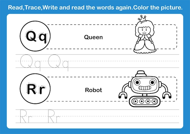 Alphabet q-r exercise with cartoon vocabulary for coloring book