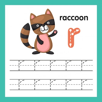 Alphabet r exercise with cartoon vocabulary illustration, vector