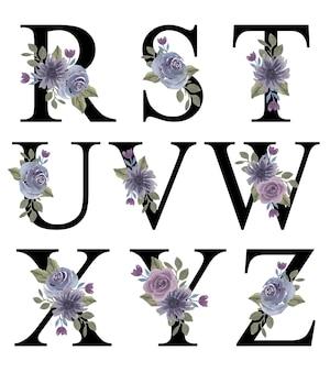 Первоначальный дизайн алфавита rz с акварельным фиолетовым орнаментом букета цветов для украшения приглашения