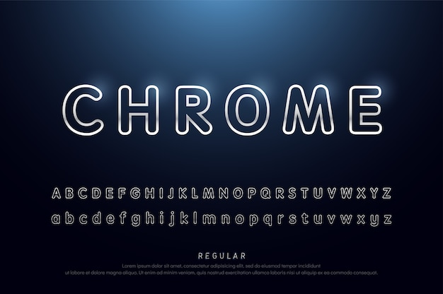 Alphabet rounded line silver metallic and effect modern font