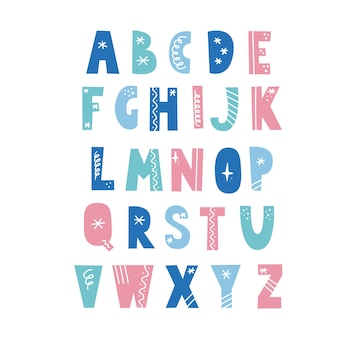 Alphabet in scandinavian style with christmas elements, snowflake, star, line. christmas holiday font. color letter.