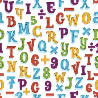 Alphabet seamless pattern in bright vintage colors.