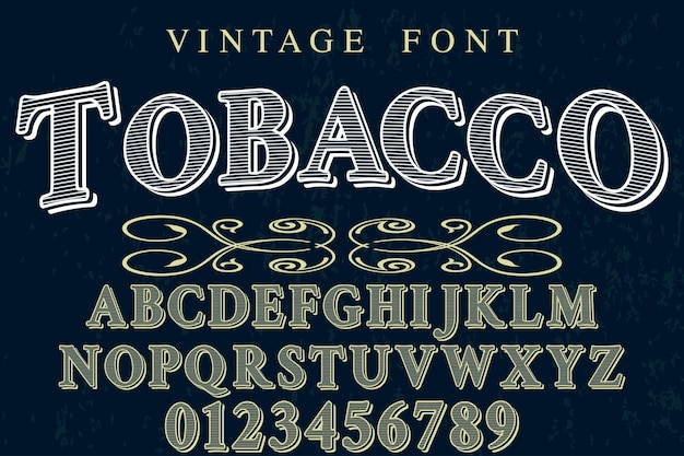 Алфавит shadow effect дизайн шрифта табака