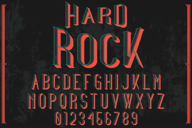 Alphabet shadow effect label design hard rock