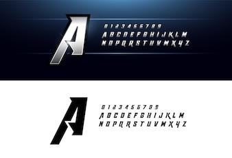 Alphabet silver metallic elegant silver letters font