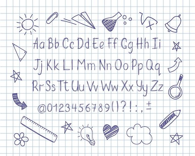 Alphabet in sketchy style with school doodles on copybook sheet.