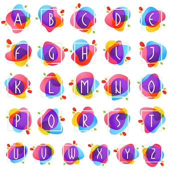Alphabet in square frame at watercolor splash background. color overlay style. vector typeface for labels, headlines, posters, cards etc.