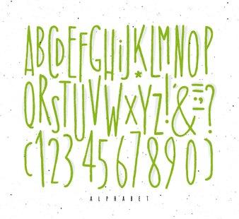 Alphabet straight green lines font