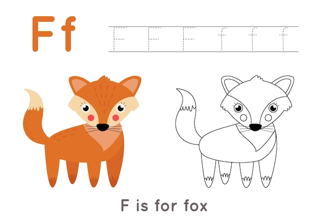 Alphabet tracing and coloring worksheet. a-z writing pages. letter f uppercase and lowercase tracing with cartoon fox illustration. handwriting exercise for kids. printable worksheet.