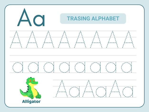 レターaワークシートのアルファベットトレース練習