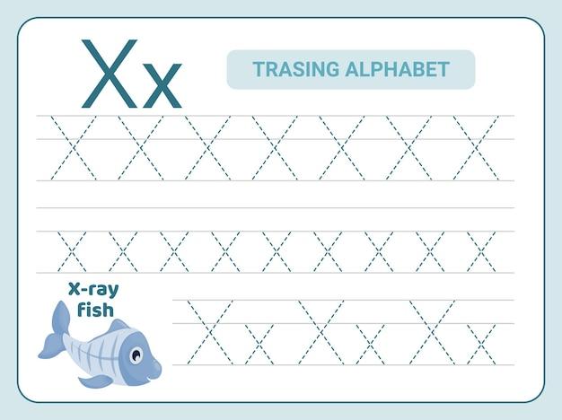 Leter x 워크 시트에 대한 알파벳 추적 연습