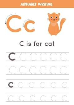 アルファベットトレースワークシート。 az書き込みページ。手紙c大文字と小文字のトレースと漫画猫のイラスト。子供のための手書きの練習。印刷可能なワークシート。
