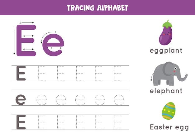 アルファベットトレースワークシート。 azライティングページ。文字e大文字と小文字のトレース、漫画の象、ナス、イースターエッグ。子供のための手書きの練習。印刷可能なワークシート。
