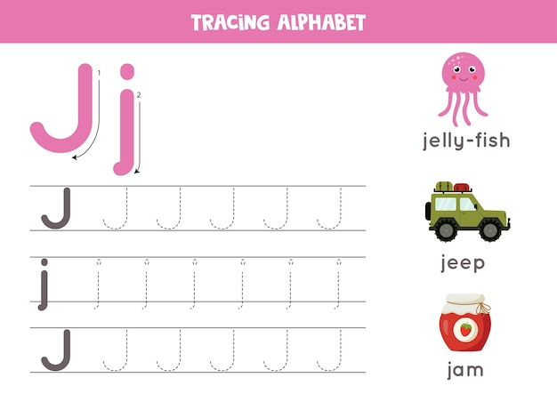 アルファベットトレースワークシート。 azライティングページ。文字j大文字と小文字のトレース、漫画のジャム、ジープ、クラゲ。子供のための手書きの練習。印刷可能なワークシート。