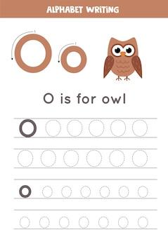アルファベットトレースワークシート。 az書き込みページ。手紙o大文字と小文字の漫画フクロウイラストトレース。子供のための手書きの練習。印刷可能なワークシート。