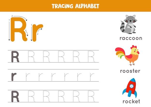 アルファベットトレースワークシート。 azライティングページ。漫画のアライグマ、オンドリ、ロケットで文字rの大文字と小文字のトレース。子供のための手書きの練習。印刷可能なワークシート。