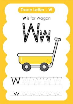 편지와 함께 알파벳 추적 워크시트 교통 차량