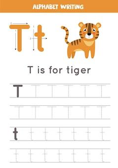 動物のイラストがアルファベットのトレースワークシート