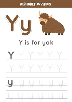 Alphabet tracing worksheet with animal illustration