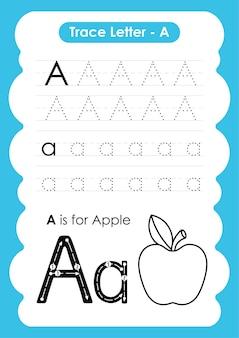 果物と野菜の語彙を含むアルファベットトレースワークシート