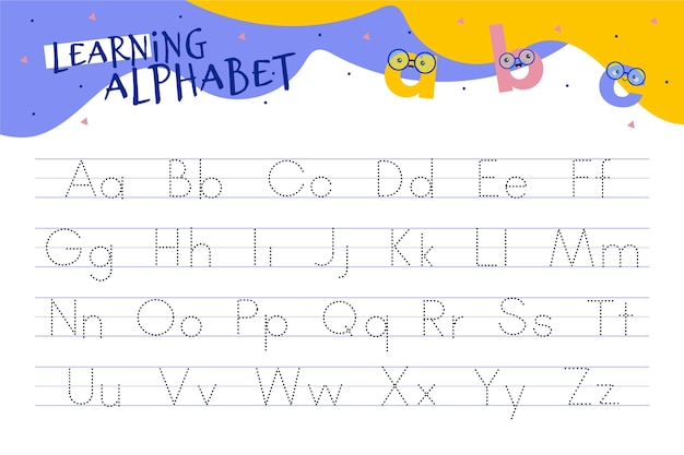 Alphabet tracing worksheet with illustrations