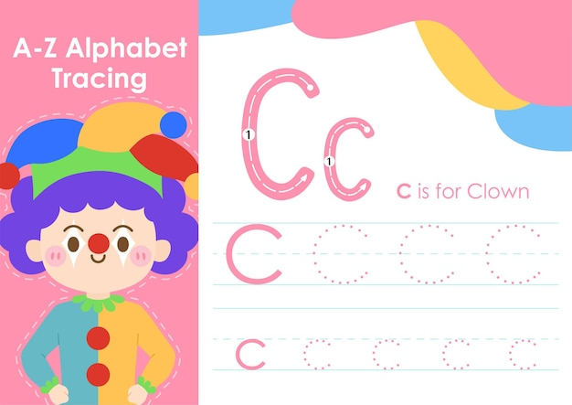 Alphabet tracing worksheet with job occupation illustration as clown
