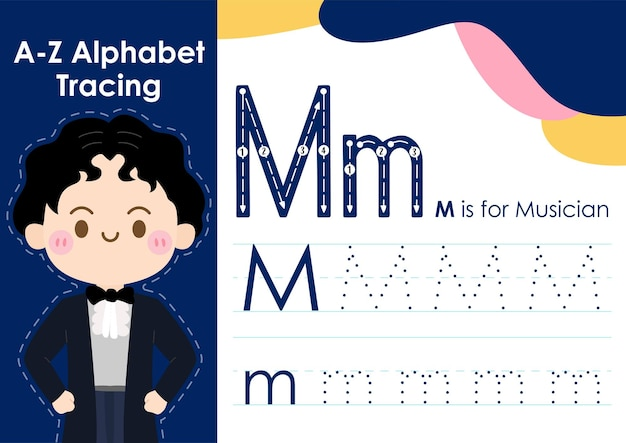 Alphabet tracing worksheet with job occupation illustration as musician