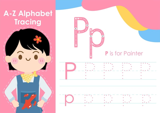 Alphabet tracing worksheet with job occupation illustration as painter