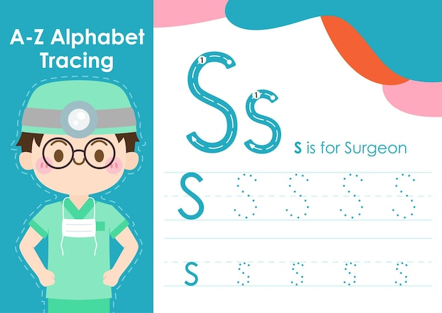 Alphabet tracing worksheet with job occupation illustration as surgeon
