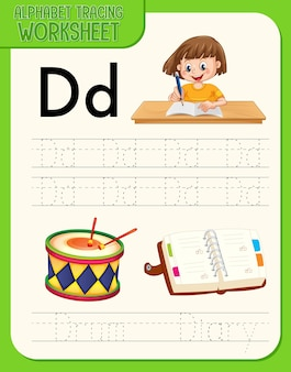 Рабочий лист начертания алфавита с буквами и словарем