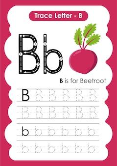 Alphabet tracing worksheet with letter b beetroot