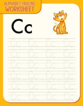 Alphabet tracing worksheet with letter c and c