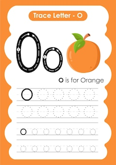 Alphabet tracing worksheet with letter o orange