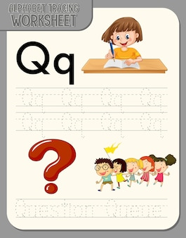 文字qとqのアルファベットトレースワークシート