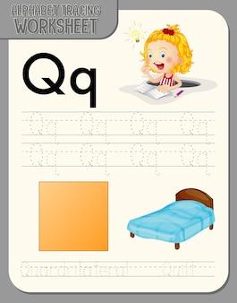 문자 q와 q가있는 알파벳 추적 워크 시트 무료 벡터