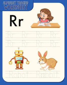 文字rとrのアルファベットトレースワークシート
