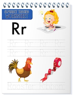 Foglio di lavoro per tracciare l'alfabeto con la lettera r e r