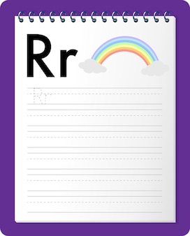 Alphabet tracing worksheet with letter r and r