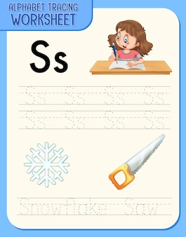 문자 s와 s가있는 알파벳 추적 워크 시트
